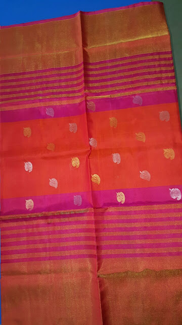 Uppada pink with red color jamdani silk saree