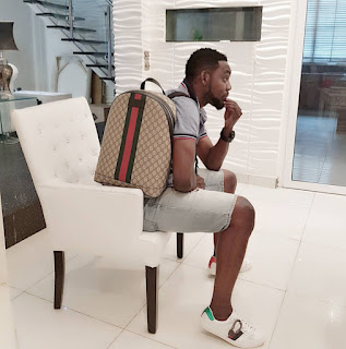 a1 - Comedian AY Poses With His Gucci Bag, Wants Hushpuppi To Confirm If It's Original (Photo)
