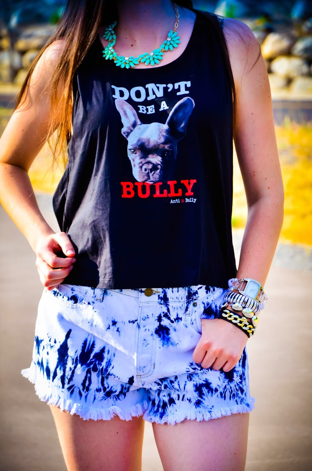 short shorts, black five shoes, black five, compassion brands, dont be a bully t-shirt, crop top, guess short shorts, bangles, arm candy, pretty, straight hair,