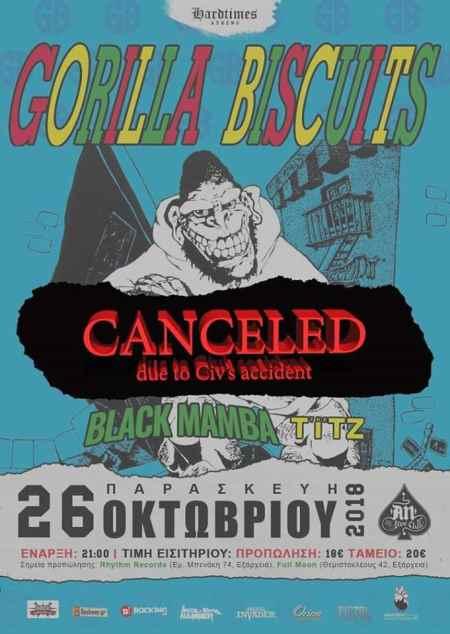 GORILLA BISCUITS: Ακυρώνεται η συναυλία στην Αθήνα