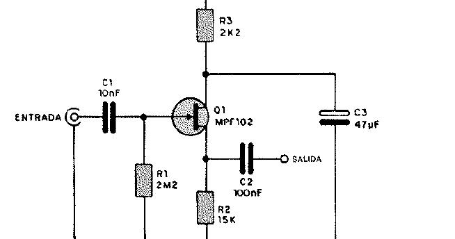 Diagramas de Electronica: Circuito preamplificador de audio