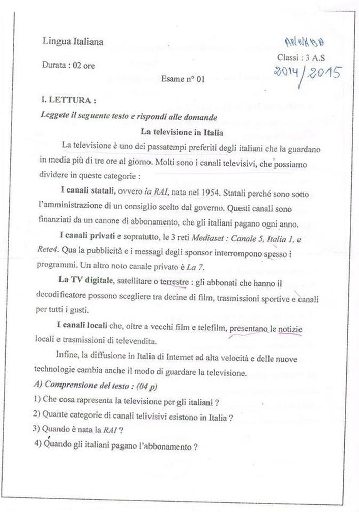 امتحان في مادة اللغة الإيطالية للسنة 3 ثانوي الفصل الأول