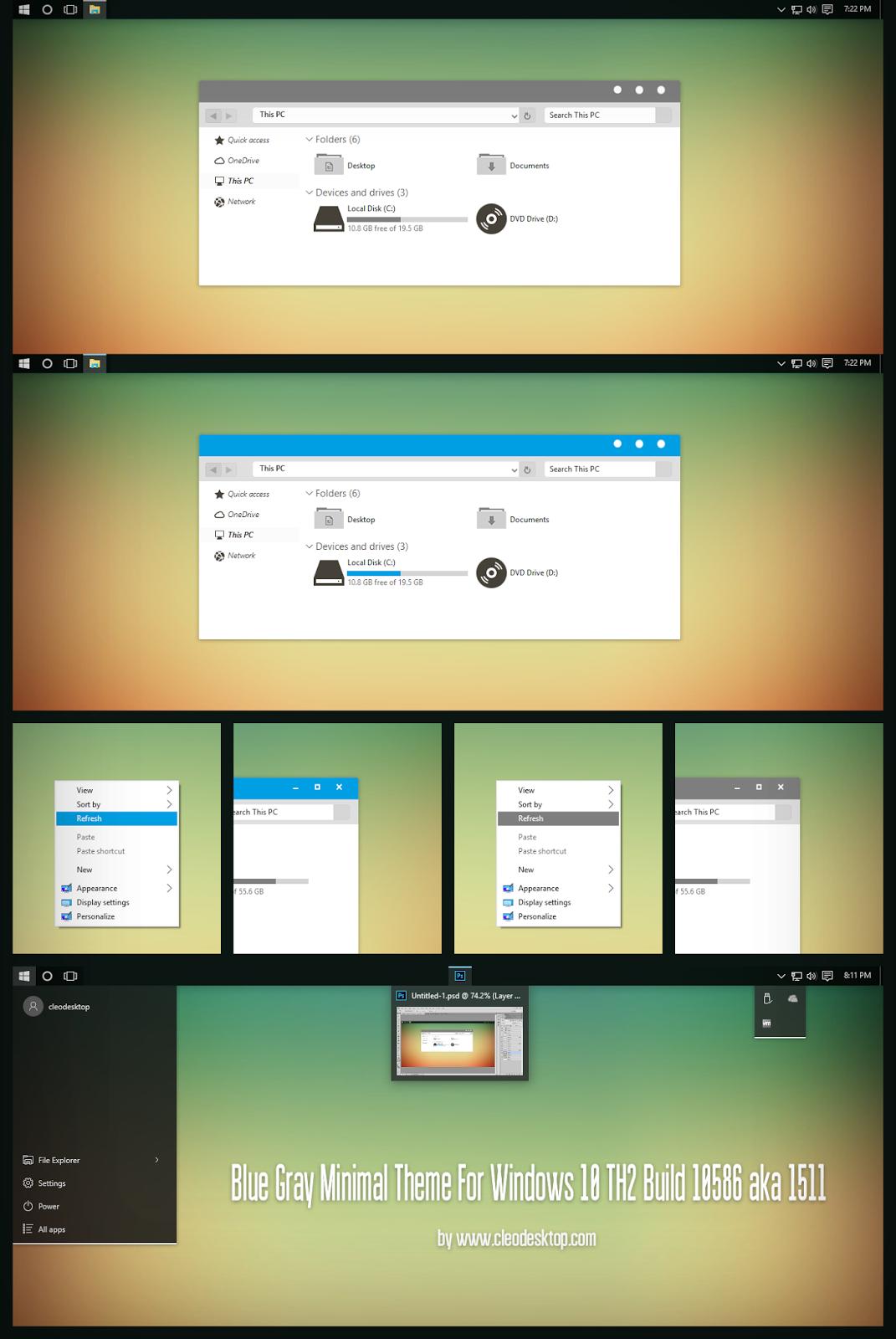 Blue Gray Minimal Theme For Windows10 TH2 Build 10586 aka 1511