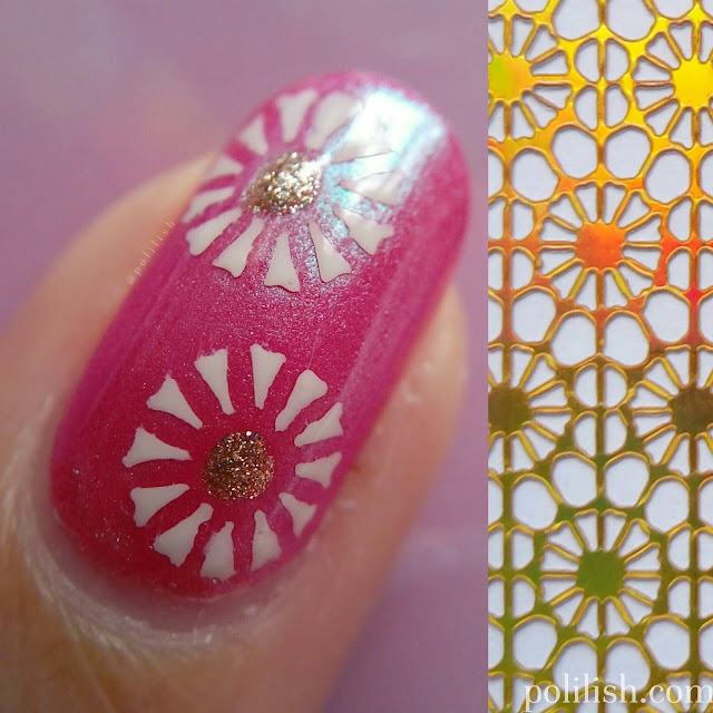 Pink floral nail art using stencils by Born Pretty Store