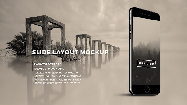 Perspective Standing iPhone 7 Screen Mockup PowerPoint Template with Background