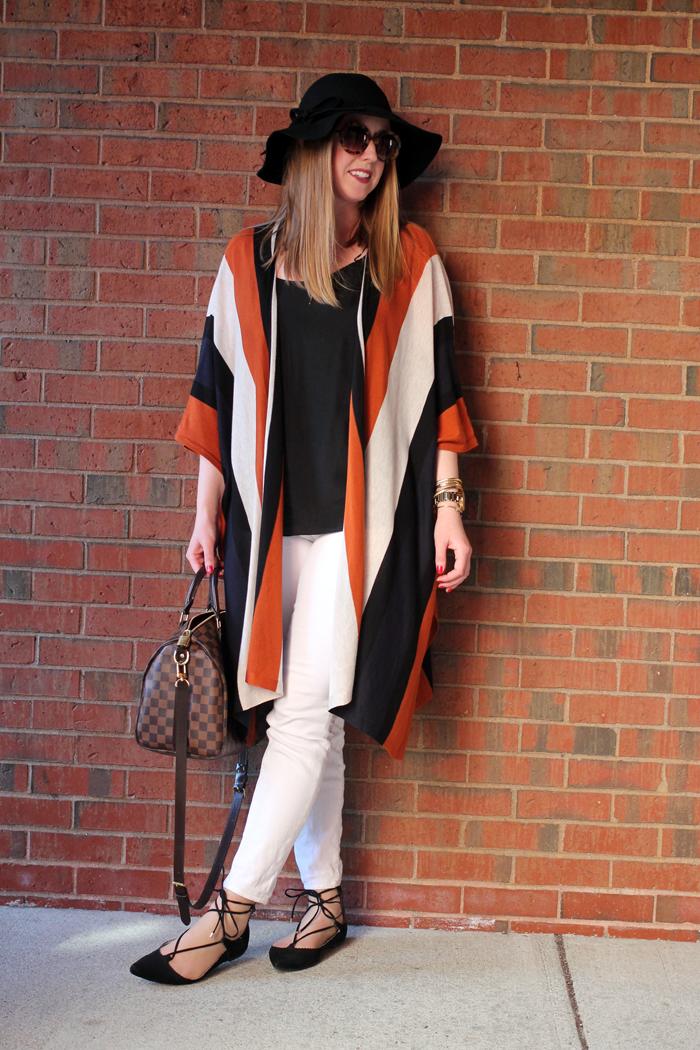 topshop lace up flats, hm stripe poncho, h&M striped poncho, boston style blogger, boston style blog, brick backdrop blog, what i wore blog