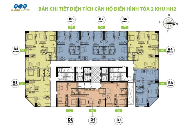 Mặt bằng tầng căn hộ điển hình tòa HH2 FLC Garden City