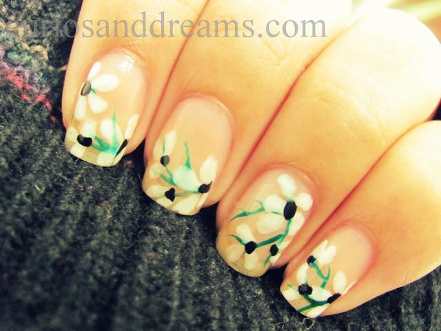 summer nail art, floral nail art. free hand nail art, watercolor nail art