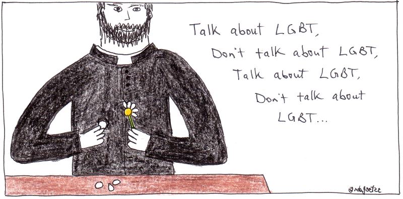 to talk about lgbt, or not to talk about lgbt. priest with daisy. cartoon by rob g