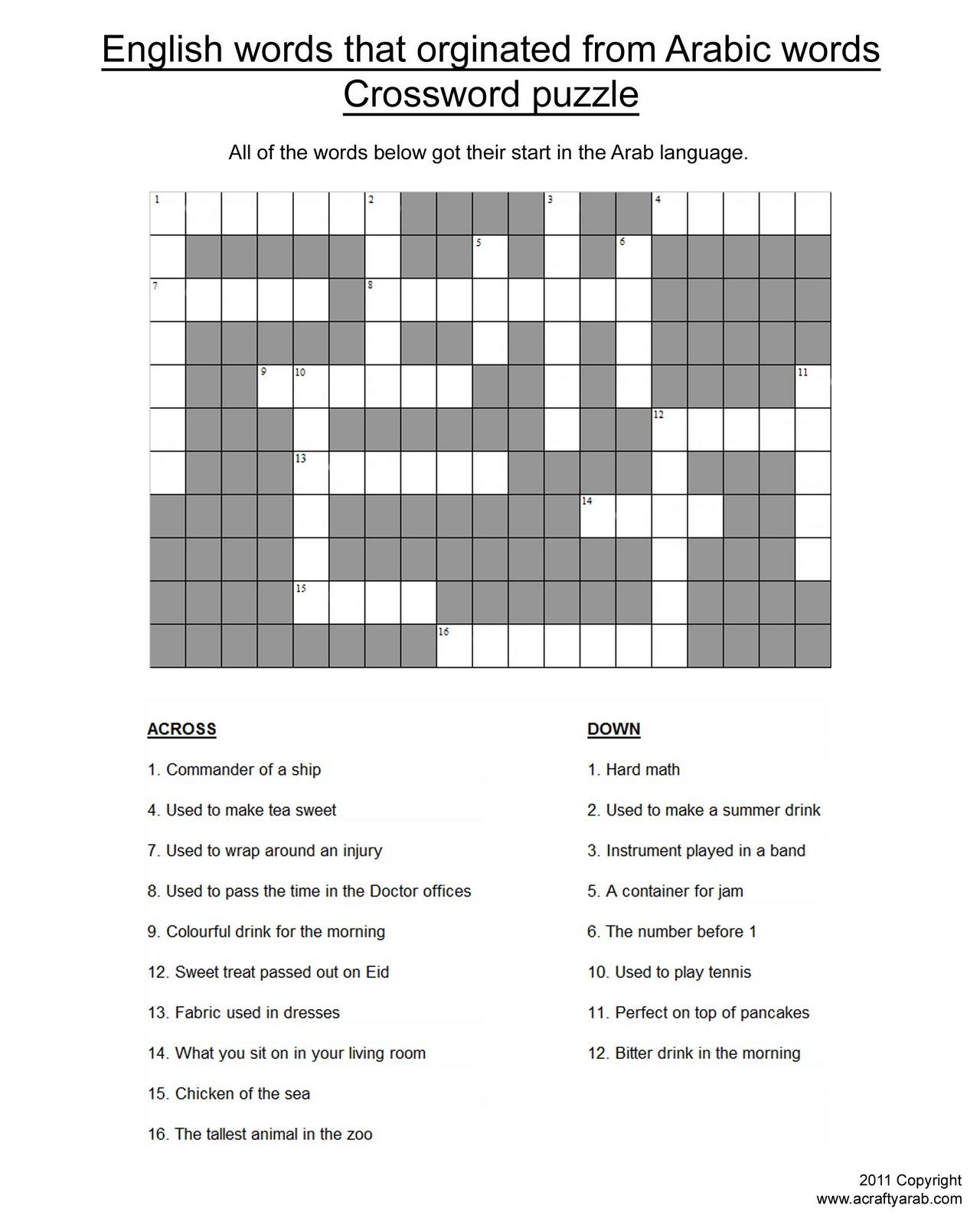 Arabic Word Origins Crossword Puzzle Printable