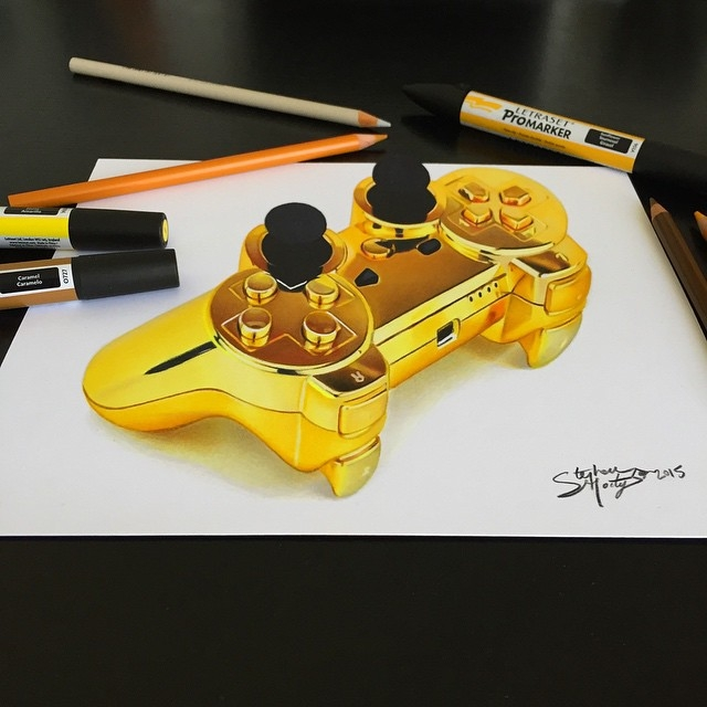07-Gold-PS3-Controller-Stephan-Moity-2D-Drawings-Optical-Illusions-made-to-Look-3D-www-designstack-co