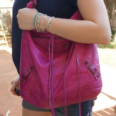 AwayFromTheBlue | Balenciaga 05 magenta day bag silver and turquoise bracelets