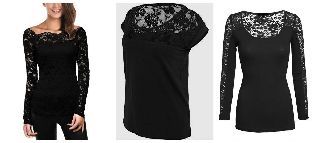 shirt mit spitze in schwarz die sch nsten. Black Bedroom Furniture Sets. Home Design Ideas