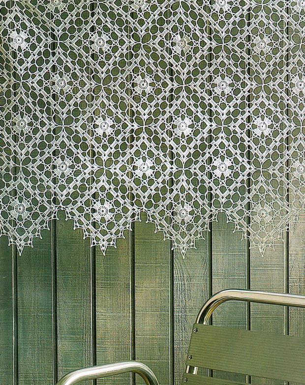 Crochet lace curtain, crochet lace square motif