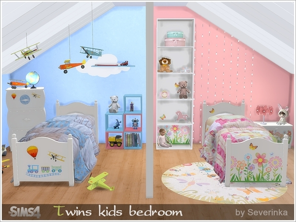 My sims 4 blog twin kids bedroom set by severinka for Sims 4 bedroom ideas