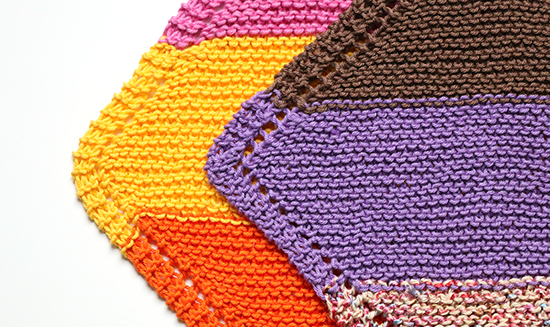 Corners of Knit Cotton Washcloths or Dishcloths with and without Short Rows
