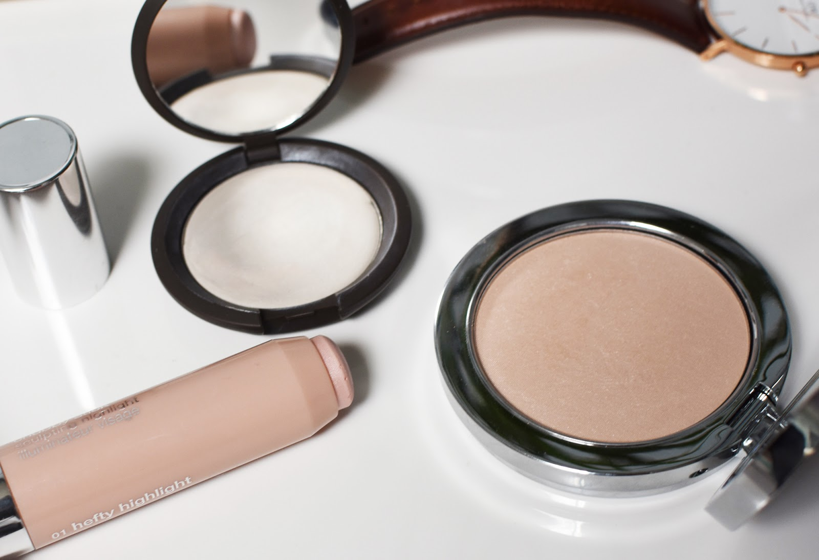 My fav highlighters of the moment: Clinique Hefty Highlight Stick, Becca Shimmering Skin Perfecter Poured in Pearl, and Rodial Instaglam Compact.