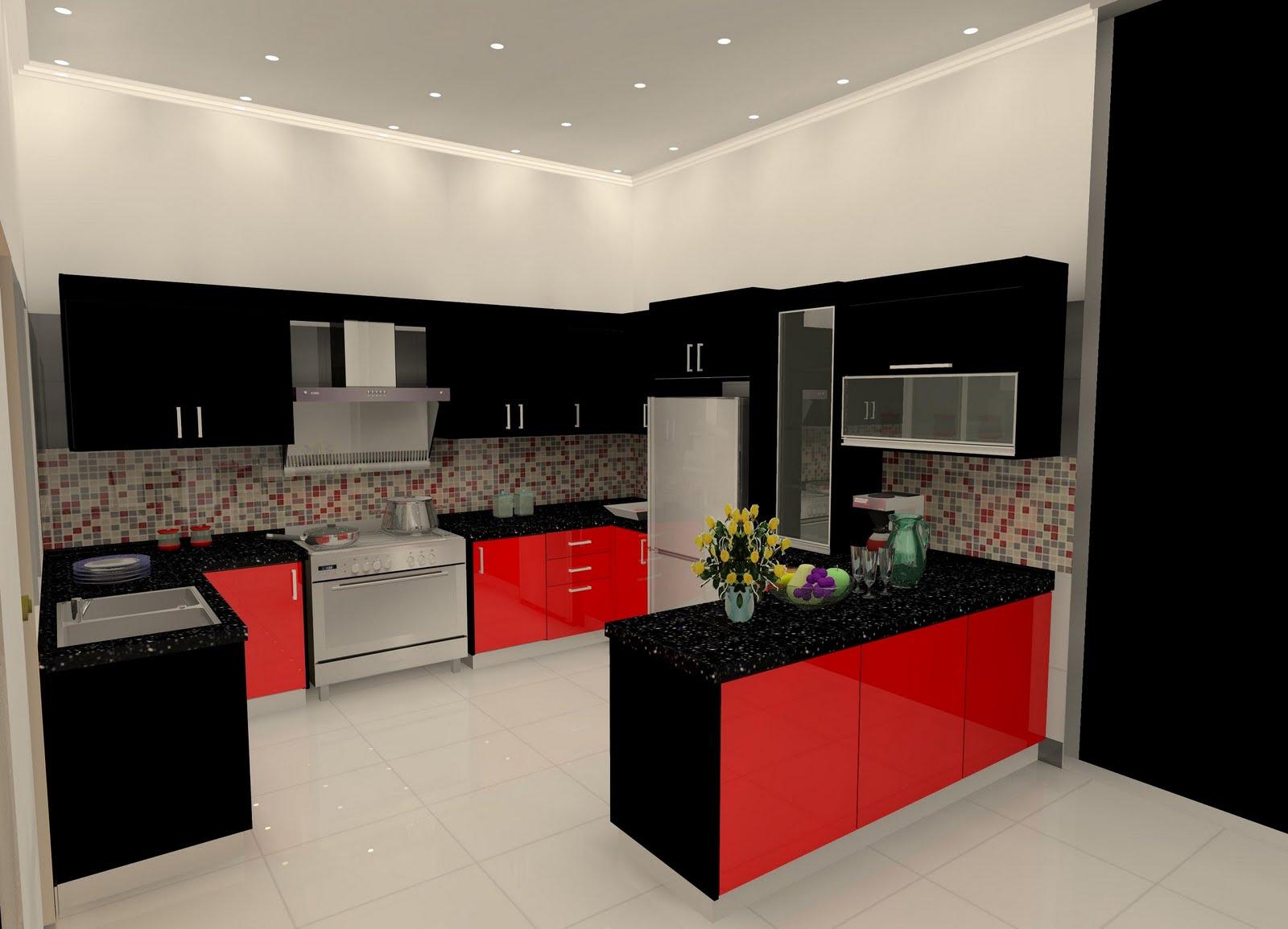 Emm Dok Google Ternampak Interior Design Untuk Dapur Cantiknya Sebab Aku Nak Buat Yg Temanya Macam Dalam Gambar Tu Huhuuuu Merah Hitam