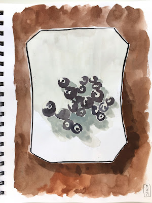 daily painting in gouache of a plate of blueberries - by Amy Lamp