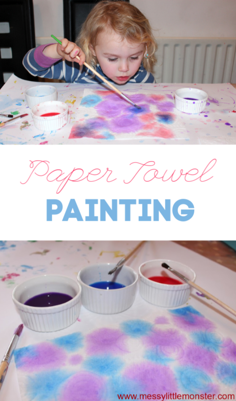 Paper towel painting and Easter egg craft. Egg template included to turn your paper towel art into an Easter craft for kids.