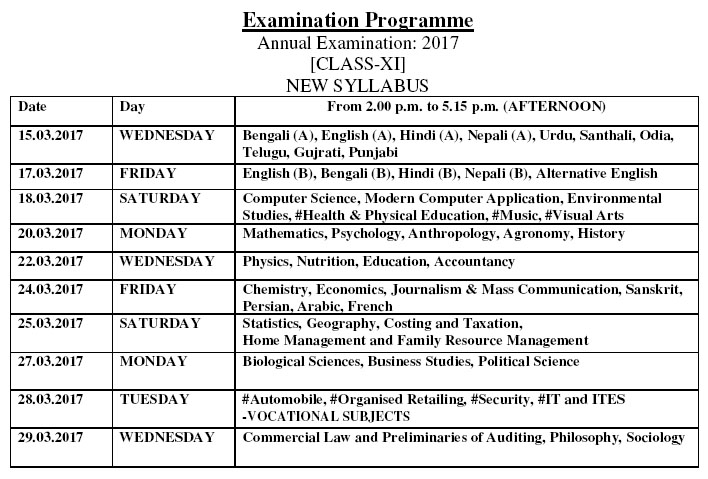 West bengal higher secondary 12th class exam time table for 12th time table