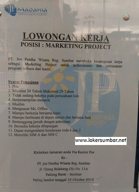 Lowongan Kerja di Padang – PT.Joe Pentha Wisata Reg Sumbar – Marketing Project – (Penutupan 13 Okt.2016)