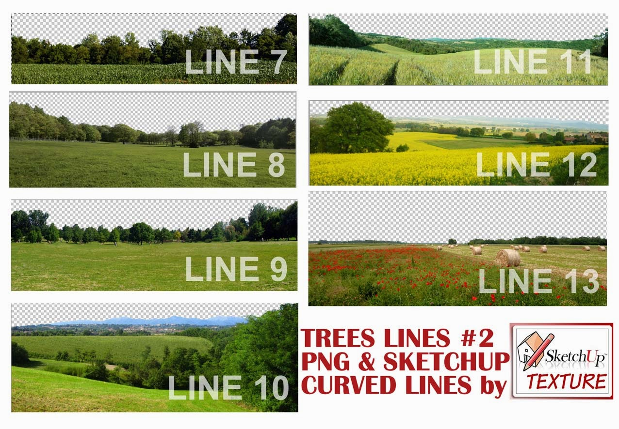 SKETCHUP TEXTURE: SKETCHUP 2D CUT OUT TREES CURVED LINES #2