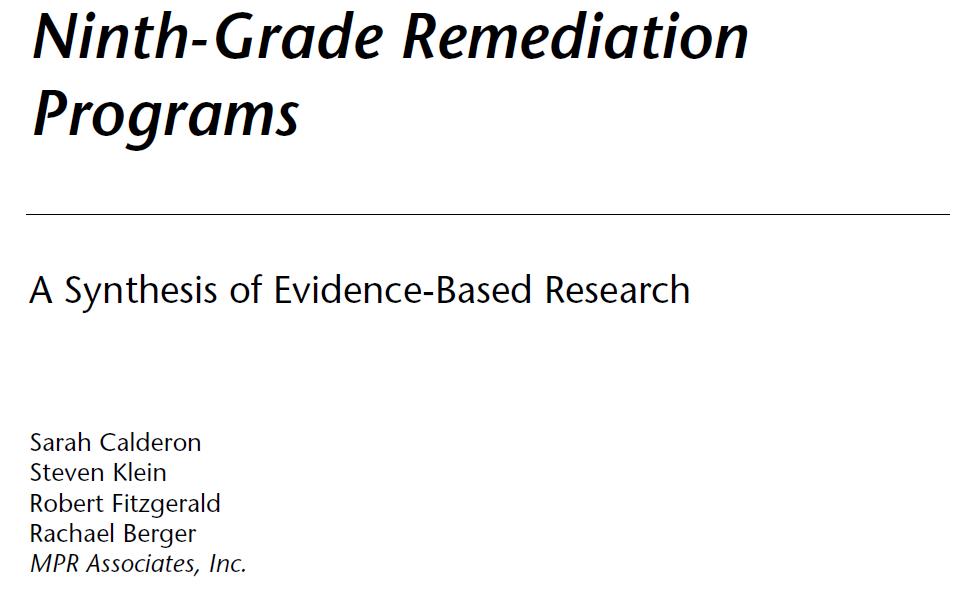 Remedial Education A Bridge To Nowhere
