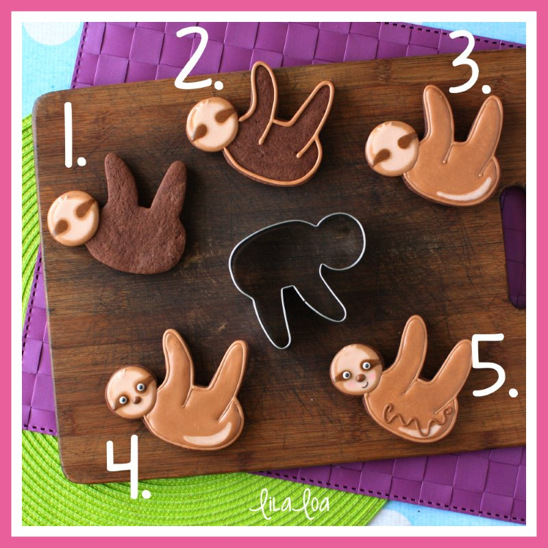 step by step sloth cookie decorating tutorial