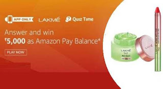 all answer of Amazon Lakme brand quiz time contest