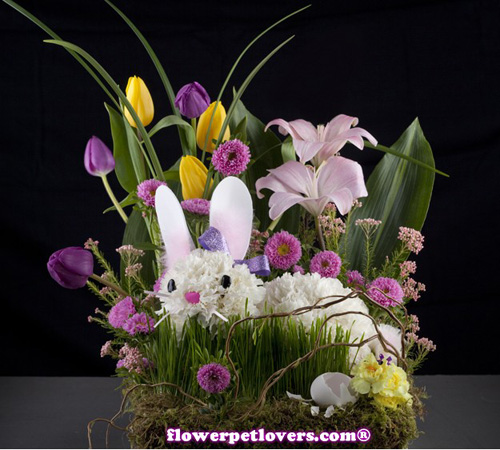 happy easter bunnies flowers-#31