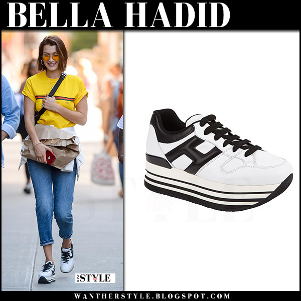 Bella Hadid in white platform Hogan sneakers streetstyle july 26 2017 what she wore