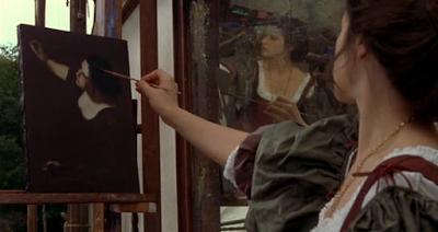 Artemisia Gentileschi nel suo autoritratto nel film Artemisia passione estrema