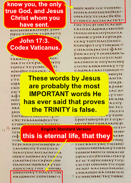 John 17:3. Jesus said His Father is THE ONLY ONE TRUE GOD and NOT THREE as taught in the CATHOLIC TRINITY.