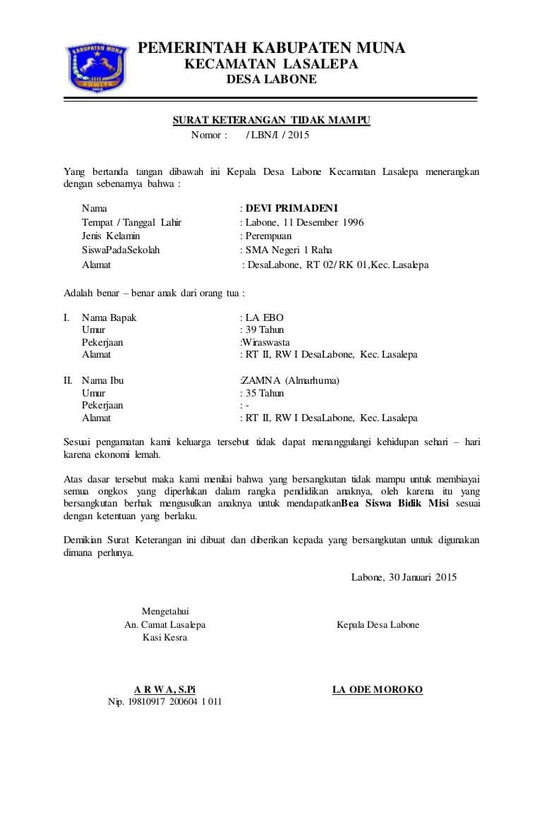 Contoh Surat Keterangan Tidak Mampu Dari Desa Untuk Bidik Misi