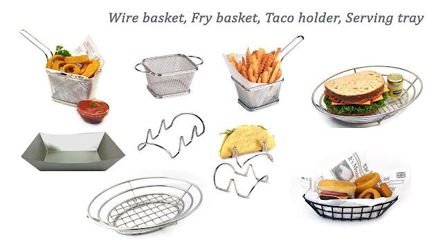 wire basket, taco holder , fry basket , serving tray