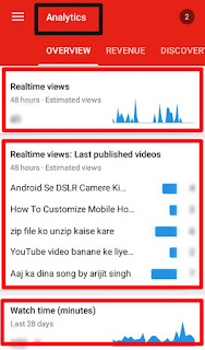 Best mobile tool for YouTubers in hindi | dashboard