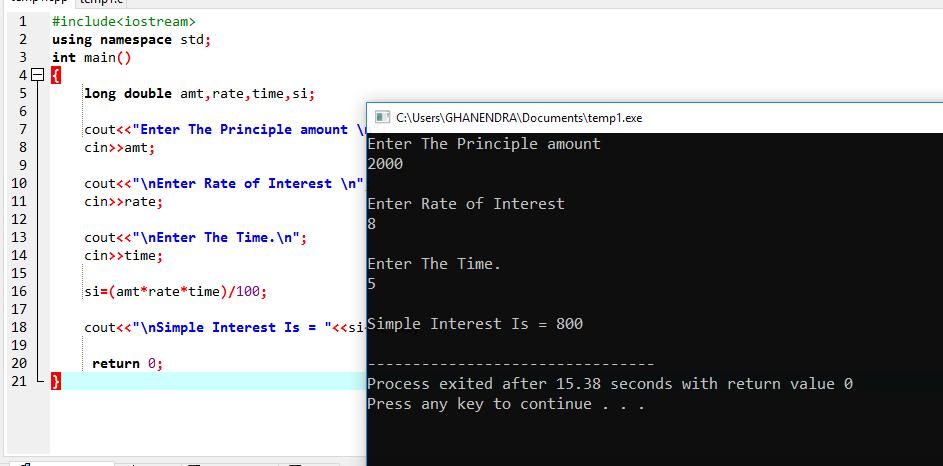 C++ Program To Calculate Simple Interest