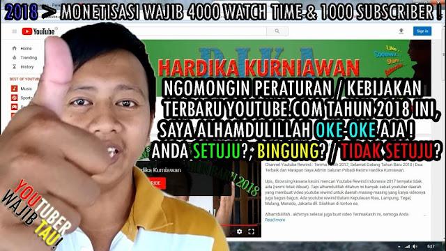Peraturan (Kebijakan) Terbaru Youtube 2018 : Monetisasi Channel Wajib 4000 Watch Time dan 1000 Subscriber www.hardikakurniawan.com