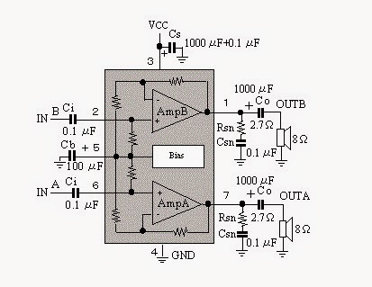 11W per Channel Stereo audio Amplifier capable of delivering Circuit Diagram