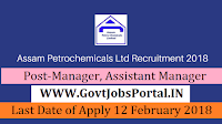 Assam Petrochemicals Recruitment 2018 – 12 Manager, Assistant Manager