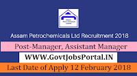 Assam Petrochemicals Recruitment 2018 – 12 Manager, Assistant Manager
