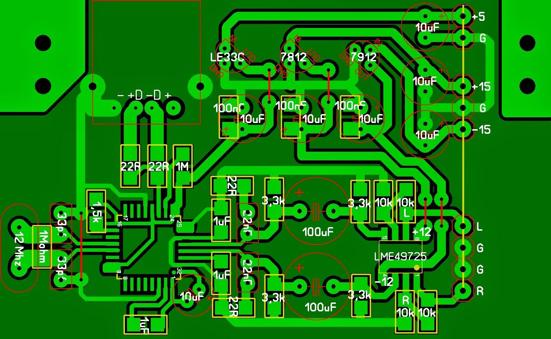 Diy Usb Hangkrtya Pcm2707c Vel Elektrobarlang The Fu29 Pushpull Circuit Amplifiercircuit Diagram Nem Vgleges Verzi