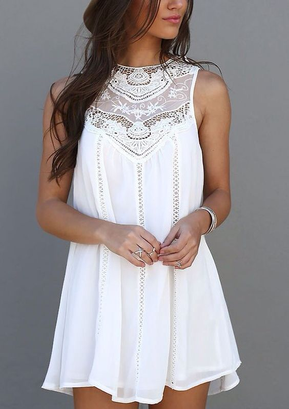 WhiteBeautiful Neck Embroided chafun mini dress