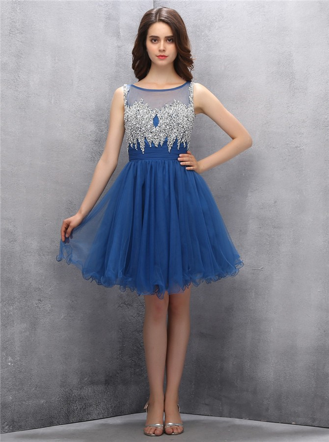 A-line Scoop Knee-length Navy Blue Organza Open Back Homecoming Dress with Beading
