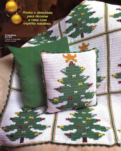 Manta e almofada para o natal