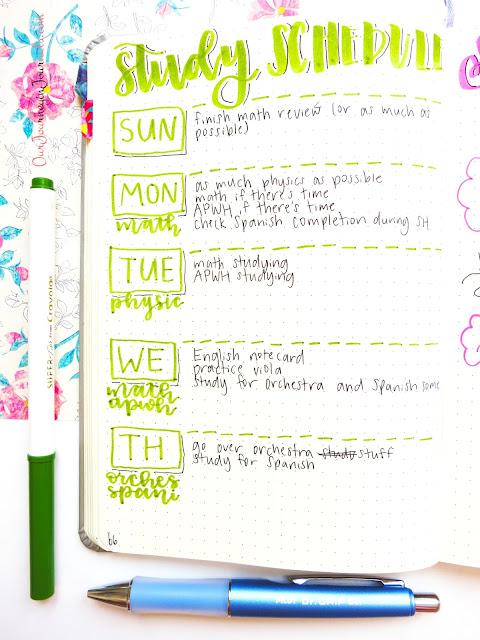 bullet journal study schedule spread for finals
