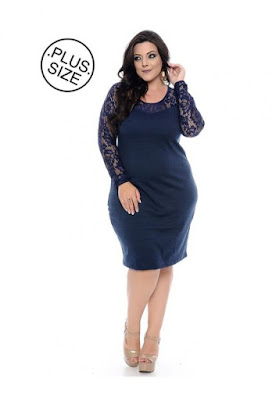 Vestido Plus Size Azul Renda