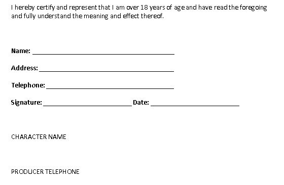 Work Release Form | A2 Media Group Work Actor Release Form