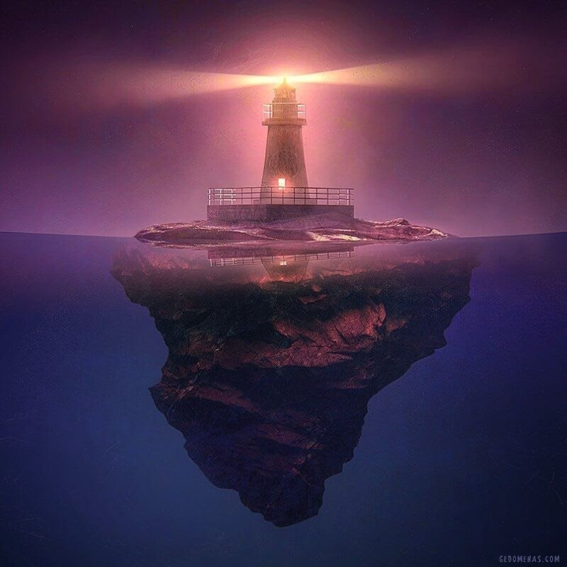 03-Lighthouse-Gediminas-Pranckevičius-Floating-Worlds-Surreal-Digital-Art-www-designstack-co